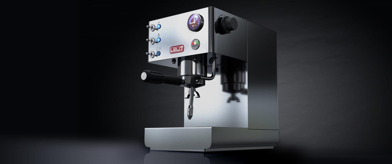 3d produkt-visualisierung espresso maschine
